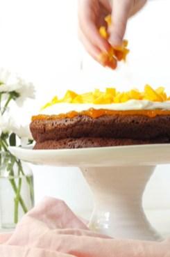 Rezept glutenfreier Schokokuchen mit Mango