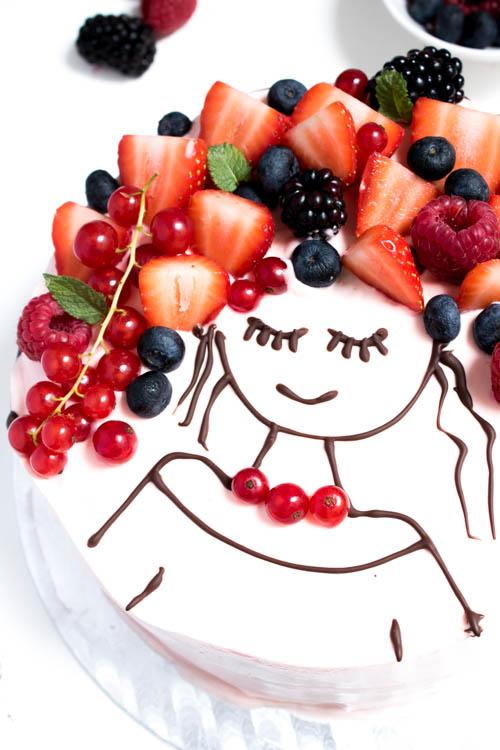 Rezept Face Cake Torte mit Beeren