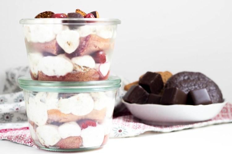 Dessert Rezept Lebkuchen Tiramisu mit Kirschen ohne Eier Kaffee Alkohol