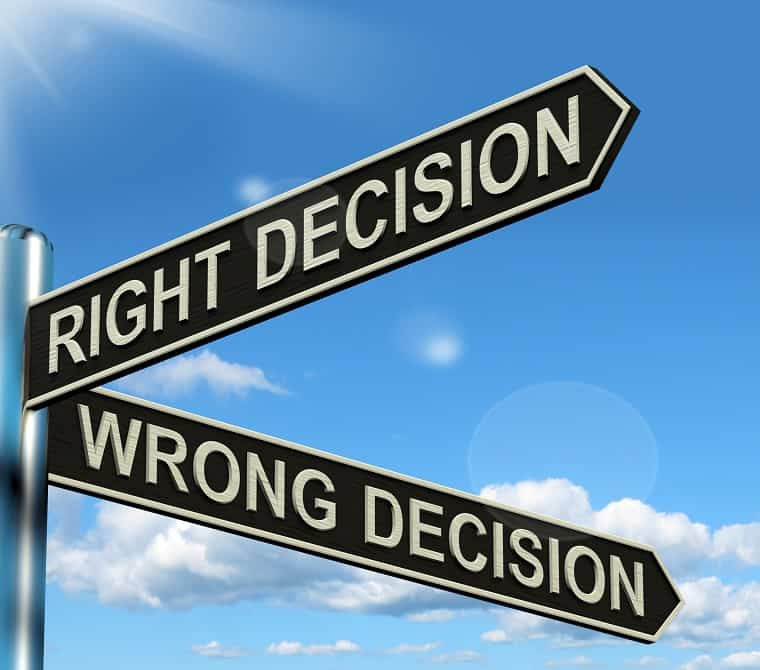 right or wrong decision - mistake