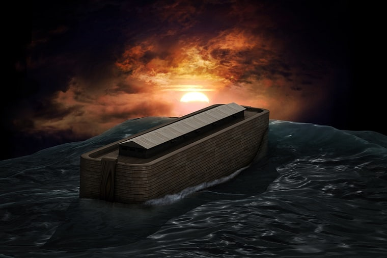 Noah and his family in the ark