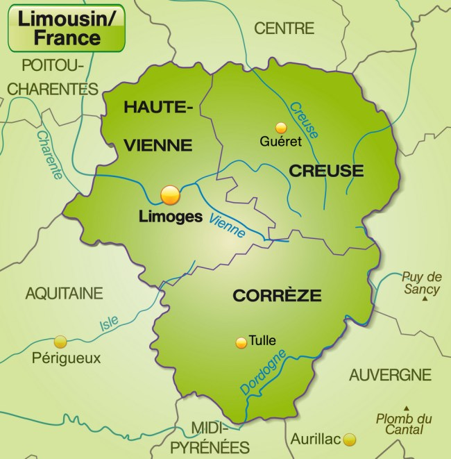 Map of limousin