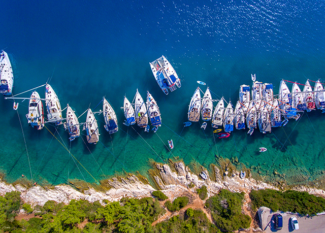 Yachts in Fiskardo Bay on Cephalonia Island Greece