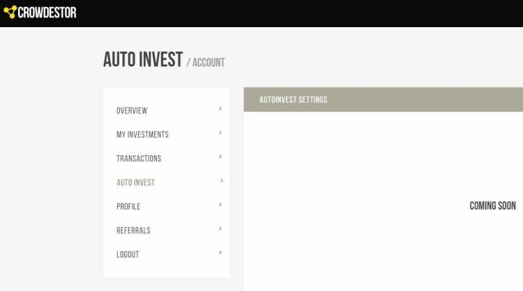 Crowdestor is working on enabling the auto invest feature