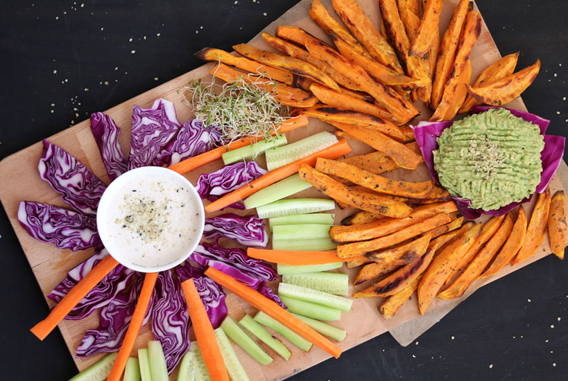 Baked sweet potato wedges with tahini sauce & avocado spread | Tofobo Family