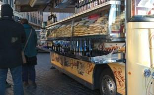 Vendor selling bottles of Prosecco on NYE.