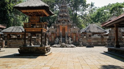 Balinese temple of worship in the monkey forest