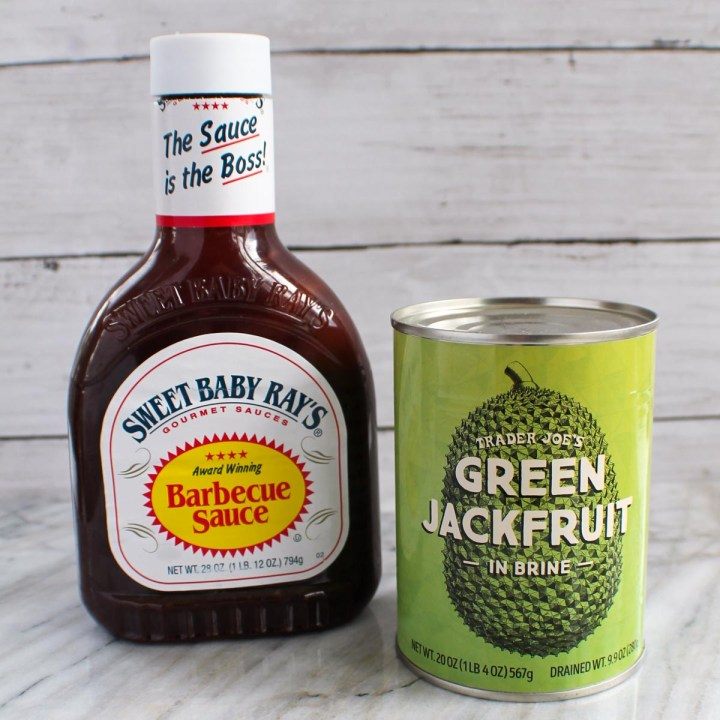 bottle of bbq sauce and a can of green jackfruit in brine