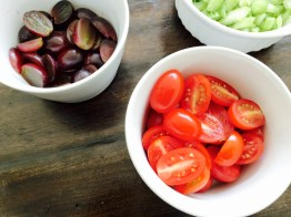 tomatoes, grapes and celery