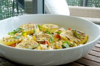 tri-pepper coconut rice with grilled curry summer squash