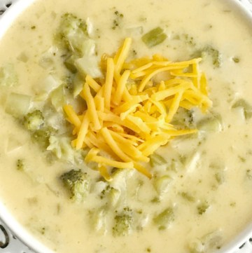 Creamy broccoli and cheese soup is a one pot soup that is loaded with broccoli and lots of cheesy goodness. It uses cornstarch so it's great for those who are gluten-free! This broccoli cheese soup uses convenient and inexpensive frozen chopped broccoli and the secret ingredient of Velveeta cheese for the ultimate smooth and creamy soup.