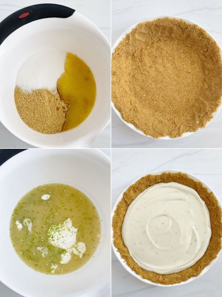 A step-by-step photo collage of how to make a key lime pie.