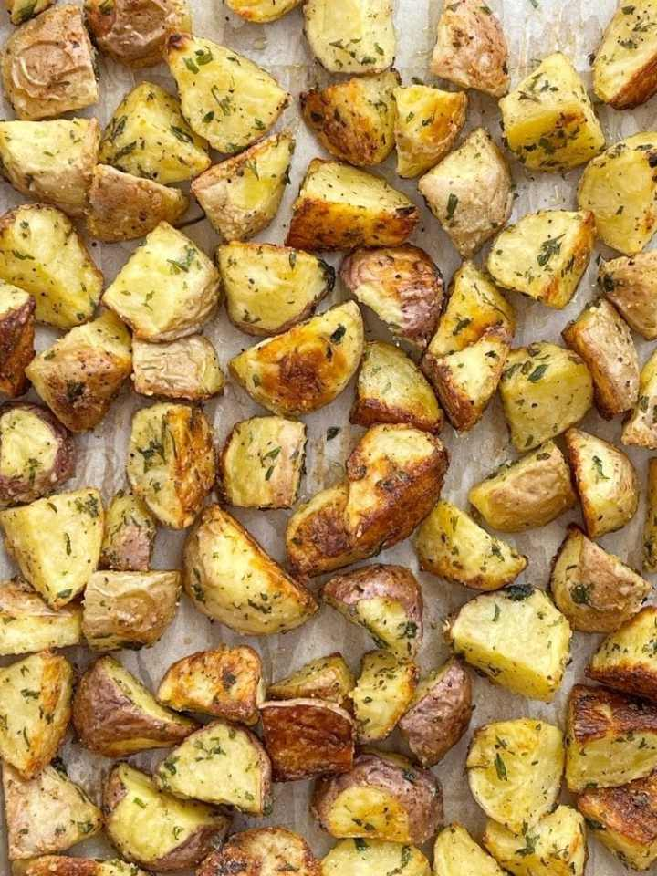 Roasted potatoes with parmesan, olive oil and garlic.