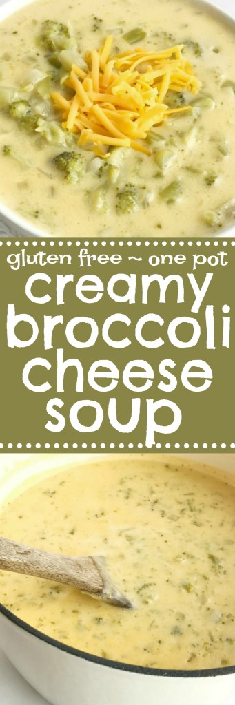 Creamy broccoli and cheese soup is a one pot soup that is loaded with broccoli and lots of cheesy goodness. It uses cornstarch so it's great for those who are gluten-free! This broccoli cheese soup uses convenient and inexpensive frozen chopped broccoli and the secret ingredient of Velveeta cheese for the ultimate smooth and creamy soup recipe | Together as Family