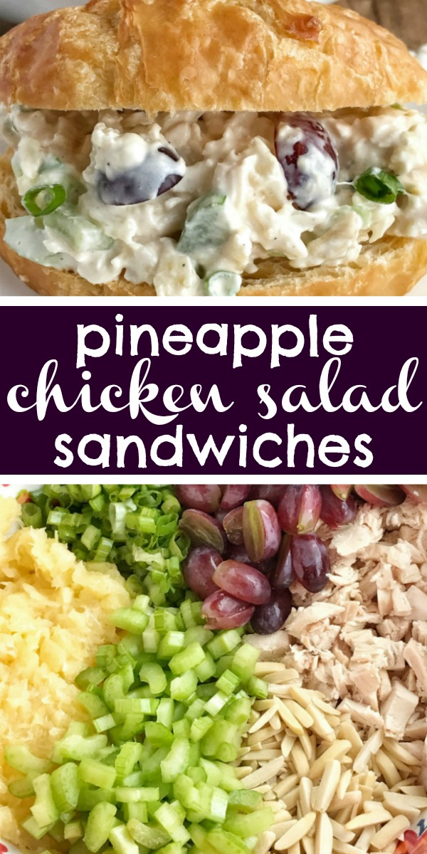Pineapple Chicken Salad Sandwiches | Chicken Salad | Chicken salad with sweet pineapple, red grapes, green onions, almonds, and celery all covered in a creamy dressing. Serve in croissant rolls or in your favorite bread roll. #easydinnerrecipes #chicken #chickensalad #recipe