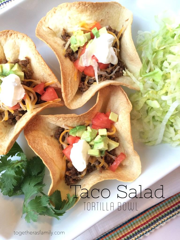Taco Salad in a Tortilla Bowl- www.togetherasfamily.com