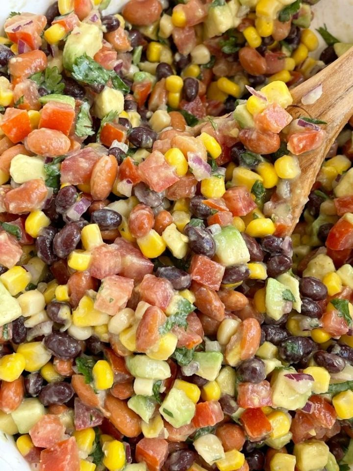 Cowboy salsa recipe is a great chip dip or served as a salad.