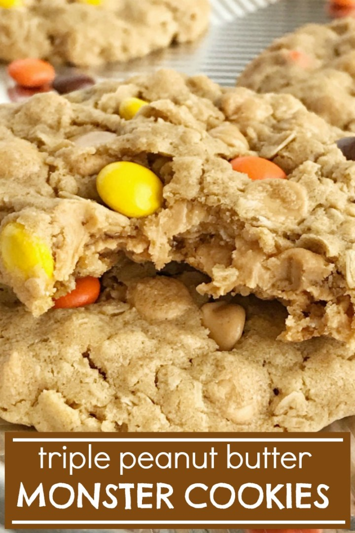 Triple Peanut Butter Monster Cookies are so thick, chewy, soft-baked and loaded with all things peanut butter. Creamy peanut butter, oats, peanut butter chips, and Reese's Pieces candy. #peanutbuttercookies #monstertcookies #cookierecipes #peanutbutter