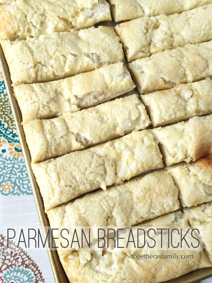 Parmesan Bread Sticks- really easy and fool-proof yeast dough recipe! www.togetherasfamily.com