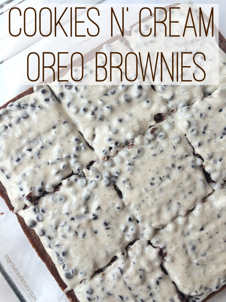 COOKIES N' CREAM BROWNIES- homemade (or boxed brownies) stuffed with Oreos & topped with a CANDY BAR frosting! www.togetherasfamily.com