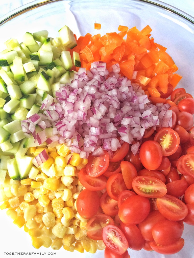 SUMMER VEGETABLE SALAD- so easy, so fresh., perfect way to use up garden veggies | www.togetherasfamily.com