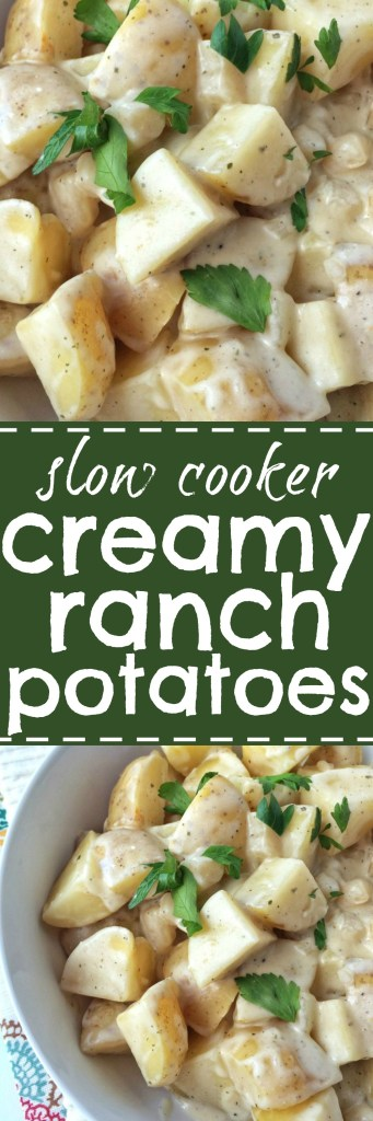 Slow cooker creamy ranch potatoes are so creamy, loaded with the ranch flavor we all love and tender potatoes, and they're made in the slow cooker. The perfect side dish to any dinner and you only need a few ingredients.