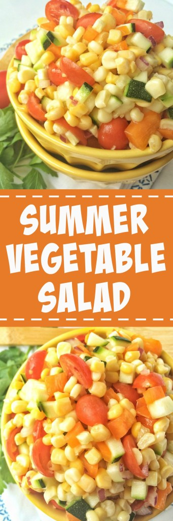 Crisp corn, zucchini, cherry tomatoes, bell pepper, and diced red onion tossed together in a sweet sauce of honey and olive oil. This summer vegetable saladis a healthier side dish for all those summer bbq's.