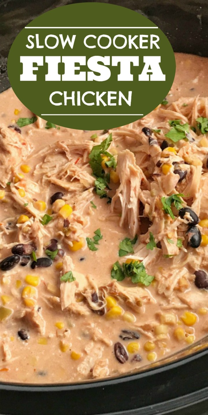 Slow Cooker Creamy Fiesta Chicken | Slow Cooker Recipe | Crock Pot | Easy Dinner Recipe | ingredients + some spices are all you need for slow cooker creamy Fiesta Chicken. Takes just minutes to prepare and it's ready when you are. Serve with cooked rice and toppings of your choice. Everyone will love creating their own fiesta chicken rice bowl for an easy dinner recipe that's made in the crock pot.