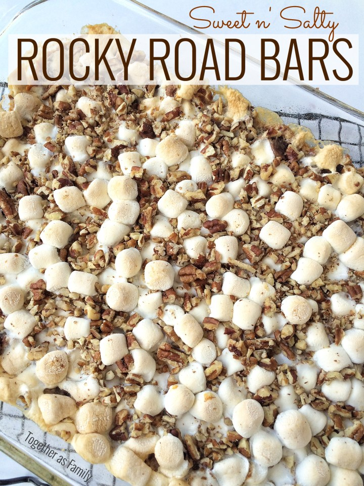 SWEET n' SALTY ROCKY ROAD BARS - pretzel crust condensed milk, layered with pecans, marshmallows and chocolate   www.togetherasfamily.com