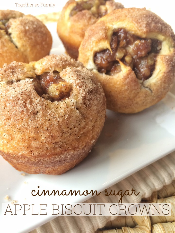 CINNAMON-SUGAR APPLE BISCUIT CROWNS | fluffy, buttery biscuit dough with chopped apples, walnuts, and cinnamon-sugar! These are so easy! www.togetherasfamily.com