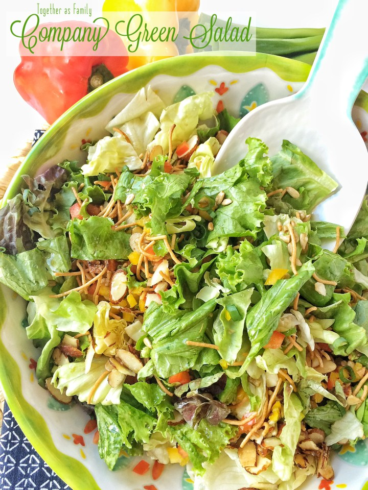 COMPANY GREEN SALAD | crisp lettuce, sugared almonds, green onion, sweet pepper, rice noodle with an easy homemade dressing! www.togetherasfamily.com