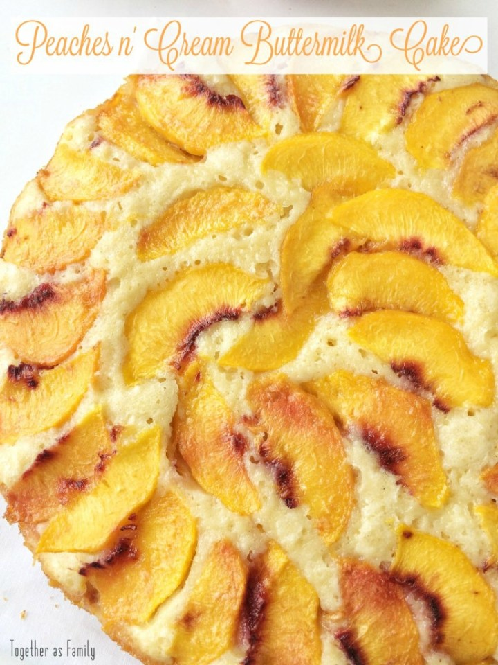 Peaches & Cream Buttermilk Cake is a sweet, light buttermilk cake filled with fresh peaches. Garnish with freshly whipped cream and you have a delicious summertime dessert that everyone will love!