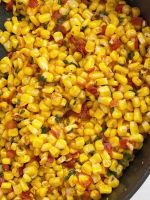 Southwestern corn in a skillet pan