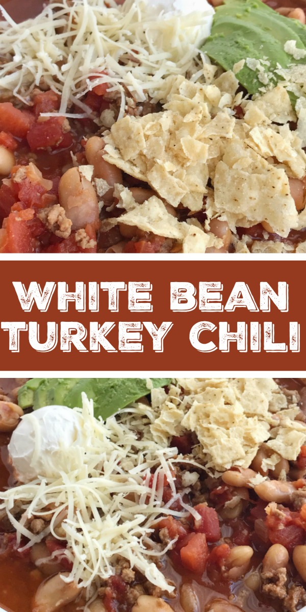 White Bean Turkey Chili | Turkey Chili Recipe | Turkey chili in a flavorful beef broth base, loaded with white beans, and warm seasonings. Serve this white bean turkey chili with sour cream, shredded cheese, and corn chips. #turkeychili #chili #onepot #groundturkey #healthyrecipe #recipeoftheday #easyrecipe