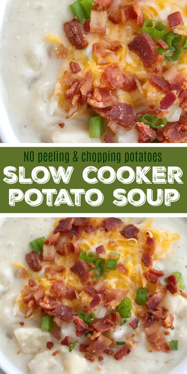 Slow Cooker Potato Soup | Potato Soup | This is the easiest potato soup you'll ever make because there is no peeling and chopping potatoes! This recipe uses a bag of frozen cubed potatoes. Let the slow cooker do all the work for a delicious creamy potato soup. Don't forget to top with bacon & cheese. #potatosoup #soup #souprecipes #easydinnerrecipes #slowcooker #crockpot