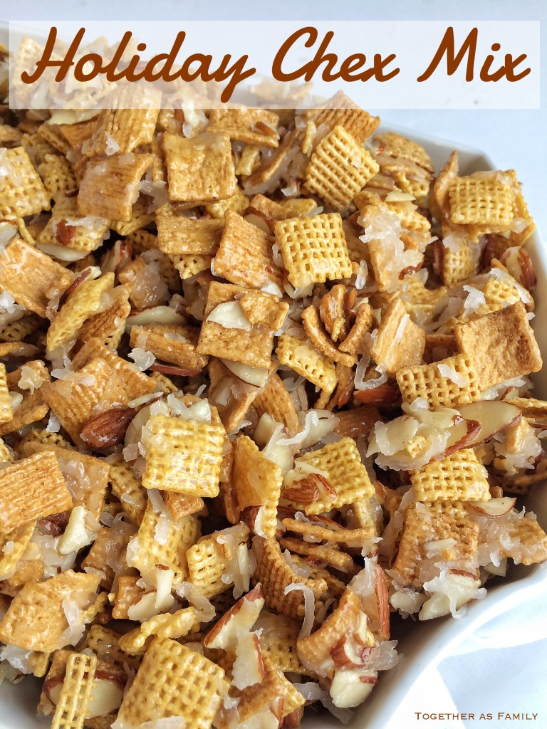 HOLIDAY CHEX MIX | sweet, salty, crunchy, soft! Cereal snack mix with coconut & almonds! www.togetherasfamily.com