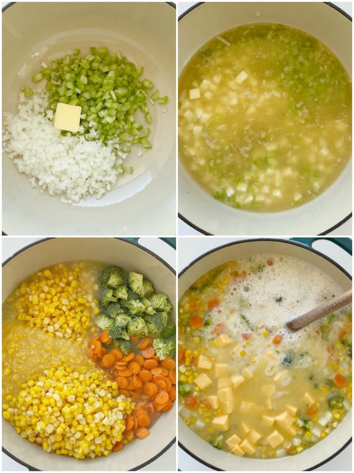 How to make vegetable chowder with step-by-step instructions with pictures.
