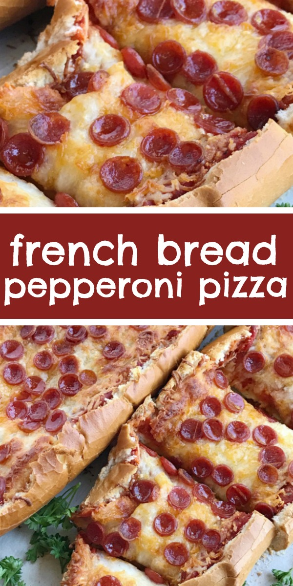 French Bread Pizza | Quick & Easy Dinner Recipe | 30 Minute Dinner | Pizza | French bread pizza is perfectly crispy on the outside! Topped with a jar of pizza sauce with added seasonings, pepperoni, and lots of cheese. It's a 30 minute dinner that's perfect for a busy weeknight meal. #dinner #dinnerrecipe #easyrecipe #recipeoftheday #pizza