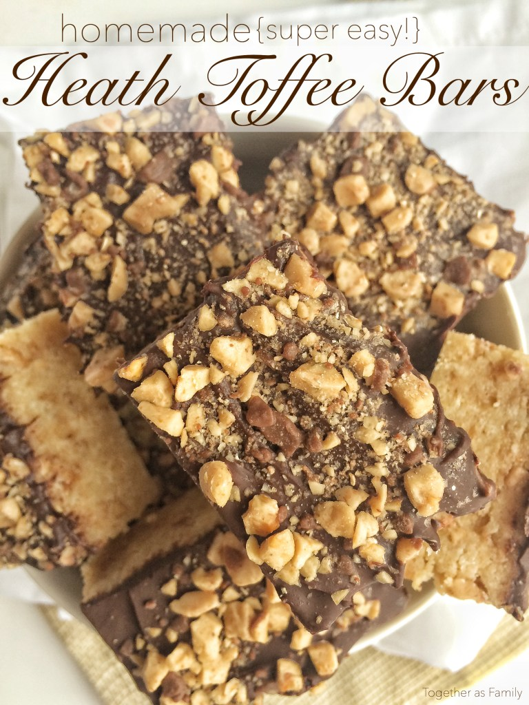 HOMEMADE HEATH TOFFEE BARS | taste exactly like a Heath bar but in soft & thick bar form. And, only 4 ingredients! www.togetherasfamily.com
