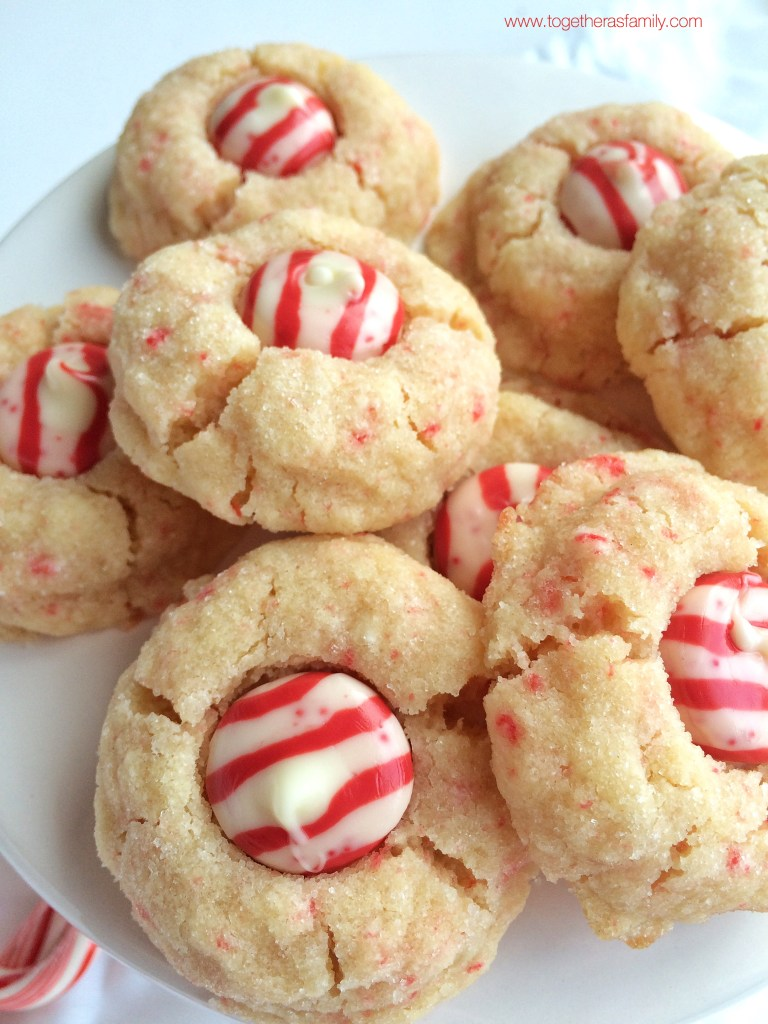 PEPPERMINT CANDY CANE KISS COOKIES   www.togetherasfamily.com