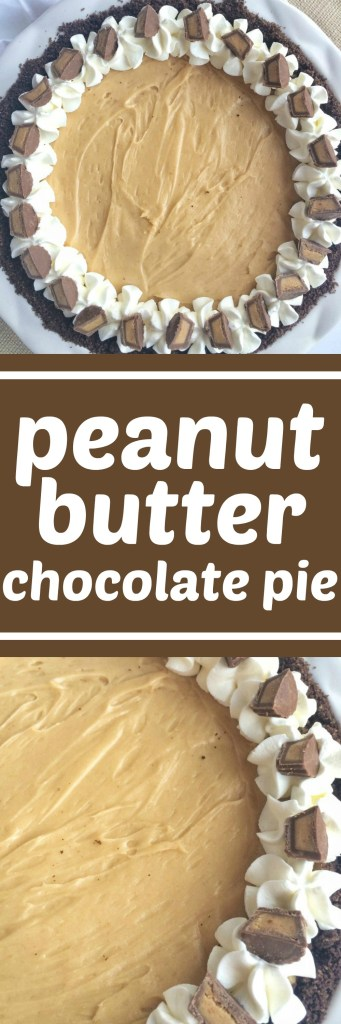 Smooth, creamy, rich, and bursting with peanut butter flavor. This peanut butter chocolate pie is a peanut butter + chocolate lovers dream. Decorate with some whipped cream and Reese's minis and you've got a show stopping dessert for the Holidays.