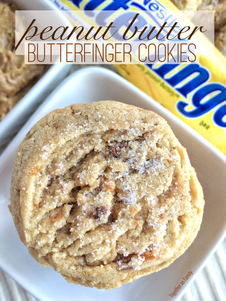 PEANUT BUTTER BUTTERFINGER COOKIES | www.togetherasfamily.com