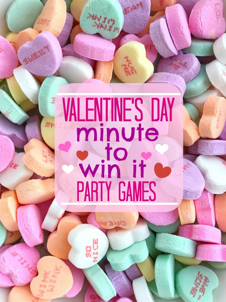Valentine's Day Minute to Win It Games | Perfect for a Valentine's Day classroom party, party, or at school. Uses common household supplies and conversation heart candy. | Together as Family #valentinesday #valentinesgames #valentinesideas #valentinesdayideas #partygames