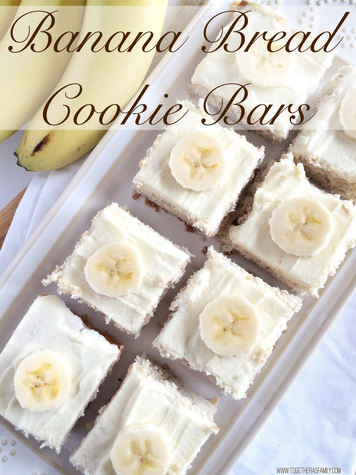 {2 Ingredient!} BANANA BREAD COOKIE BARS | www.togetherasfamily.com