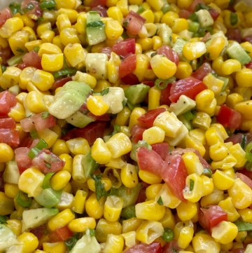 Salsa Recipes | Dip Recipes | Appetizer Recipes | Corn Avocado Salsa | Corn Salsa is the perfect blend of flavor and textures! Creamy avocados, frozen sweet corn, green onion, cilantro, and tomatoes in an easy Italian dressing olive oil vinaigrette. Serve as a healthy side dish, as salsa with tortilla chips, or on top of grilled meats.