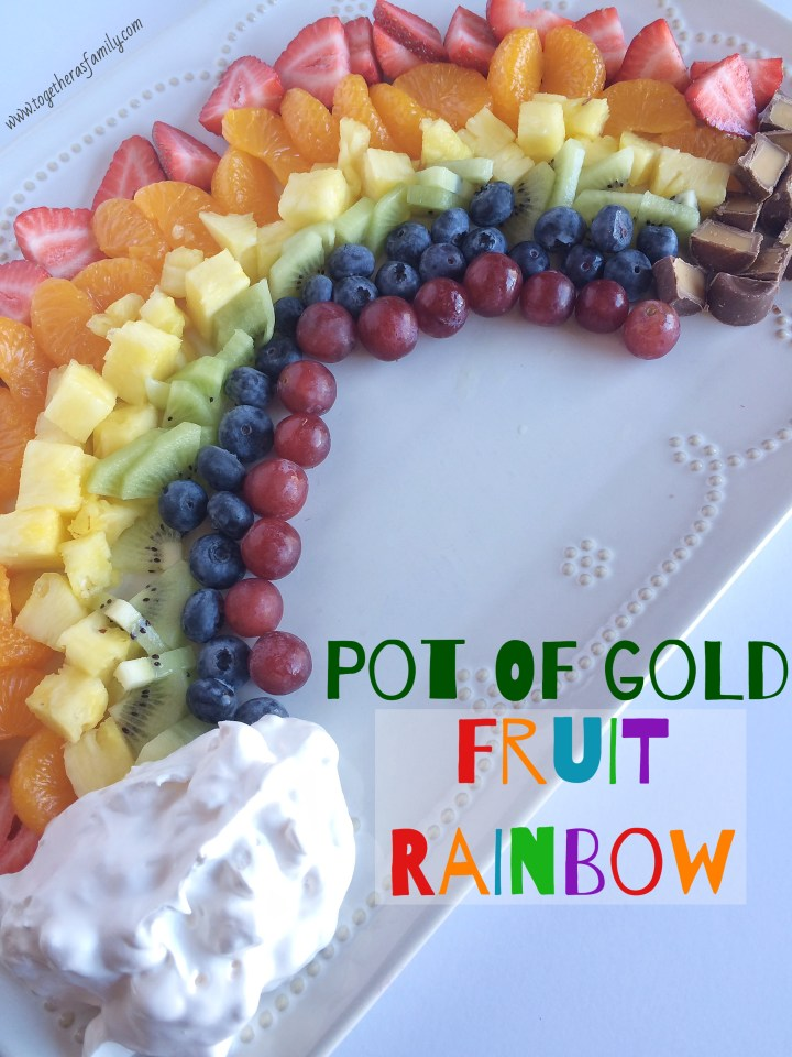 POT OF GOLD FRUIT RAINBOW | a fun & healthy treat to celebrate St. Patrick's Day w/ fruit dip and a sweet pot of gold at the end! www.togetherasfamily.com