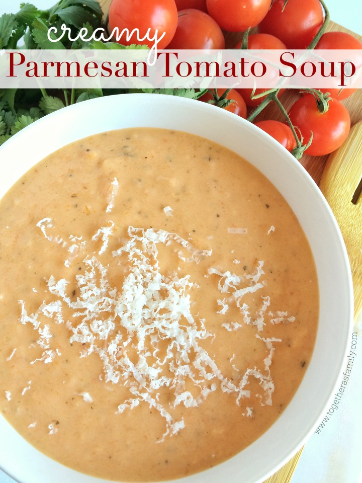 {slow cooker} CREAMY PARMESAN TOMATO SOUP | www.togetherasfamily.com