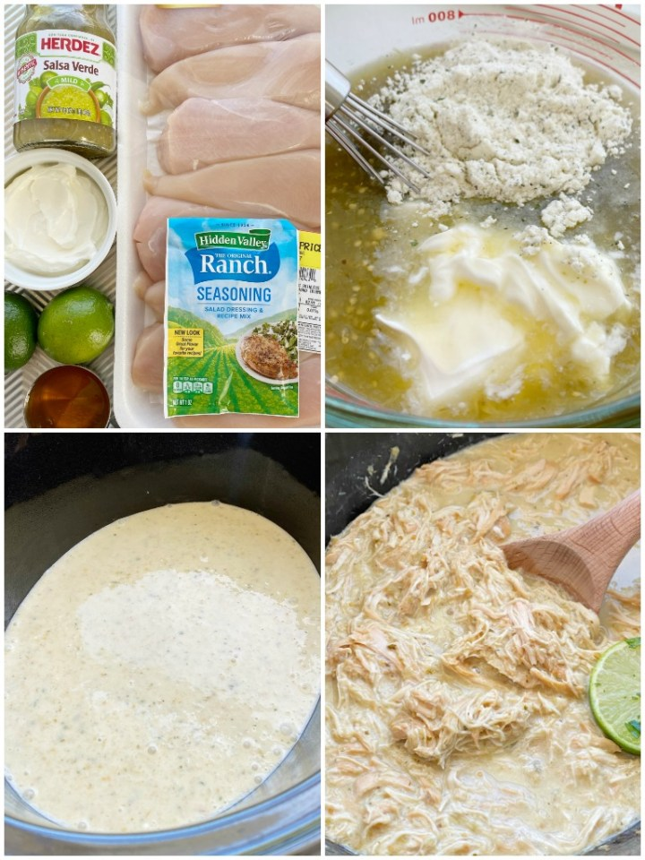 Honey Lime Salsa Verde Chicken Tacos cook in the slow cooker with only 6 ingredients! Fresh lime, salsa verde, honey, sour cream, and ranch seasoning make the best chicken tacos ever.