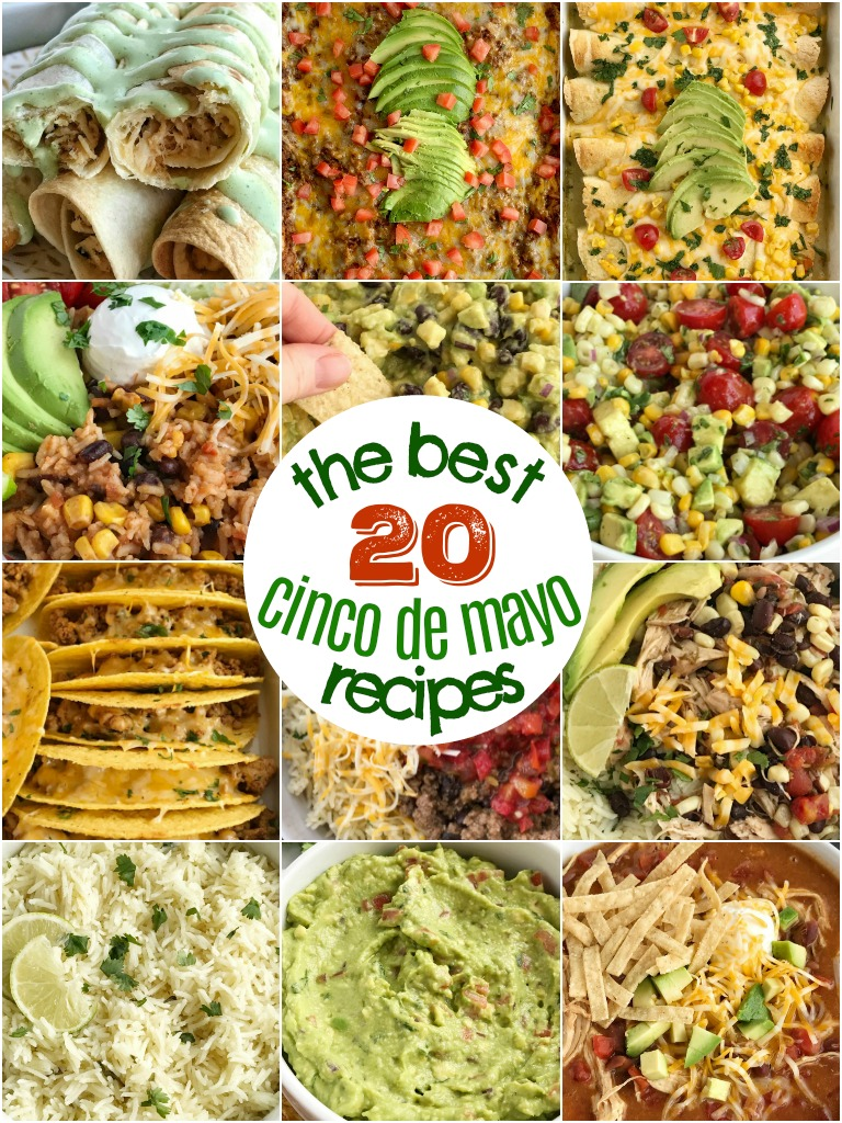 20 of the best, family favorite Cinco de Mayo Recipes to help you plan your food fiesta. From main dishes, to dips and salsa, and side dishes. There is sure to be something that everyone will love!