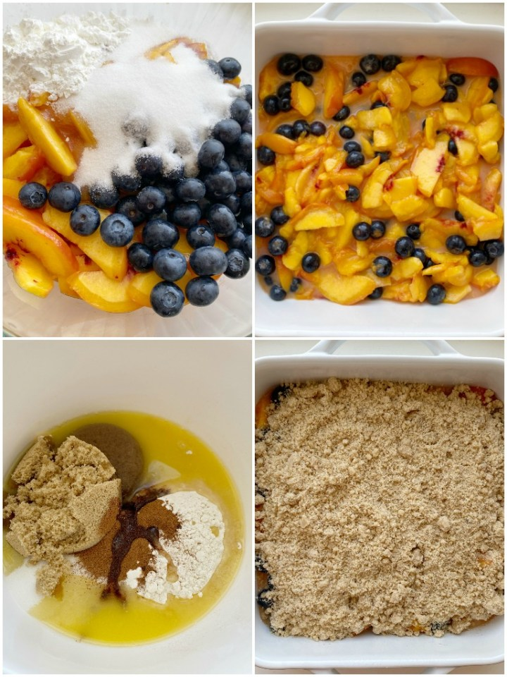Peach Blueberry Crisp with fresh, juicy peaches & blueberries topped with a sweet buttery brown sugar crisp topping. Don't forget to serve with vanilla bean ice cream for an unforgettable fruit dessert.